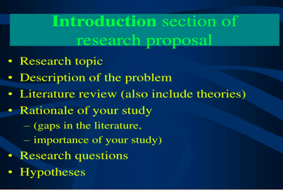 the introduction of a research proposal