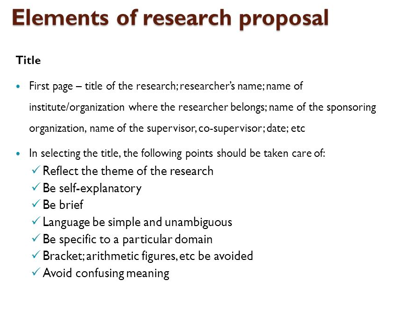 the title of a research proposal